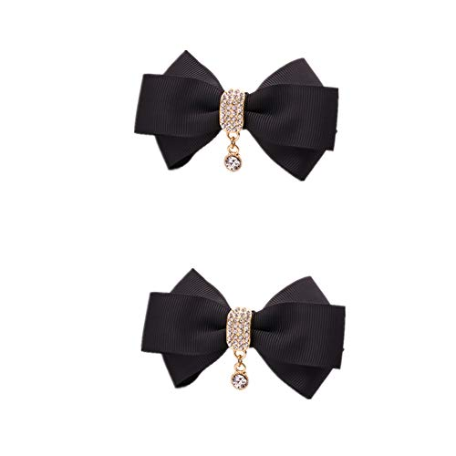 Douqu Rhinestone Crystal Dangle Center Ribbon Assorted Color Bow Shoe Clips Pair Removable Shoe Buckle (Black)