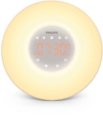 Philips HF3505/01 Wake-up Light LED, Aufwachen mit Licht, 2 natürlichen Wecktöne, weiß