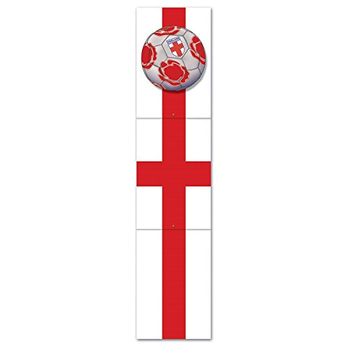 Club Pack of 12 Gray, Red and White ''England'' Soccer Themed Jointed Pull-Down Cutout Decorations 5' by Party Central