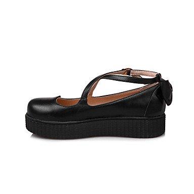 Cómodo y elegante soporte de zapatos de las mujeres pisos primavera verano otoño invierno otros sintética oficina y carrera vestido casual soporte de talón hebilla de lazo negro rosa beige negro