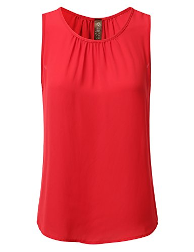 DRESSIS Womens Sleeveless Round Neck Slim Fit Pleated Chiffon Crepe Tank Top RED M