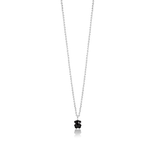 TOUS Jewelry Icon Black and White Sterling Silver with Mini Onyx Bear Pendant Necklace, 16