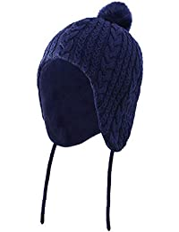 Home Prefer Baby Boys Winter Hat with Earflaps Warm Cotton Fleece Baby Hat Navy Blue 6-24 Months