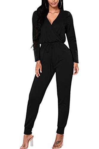 Fixmatti Birthday Outfit Jumpsuit for Women Slim Long Sleeve V-Neck Club Bodysuit Black L