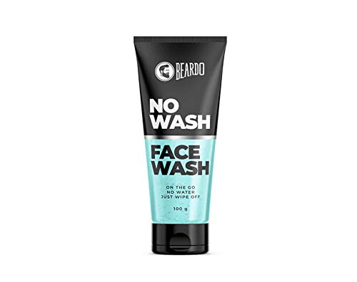 Beardo No wash Facewash, 100 gm | Made in India 2021 August Instantly refreshes with a cooling effect Removes dirt, oil & refreshes without water Keeps skin soft & hydrated