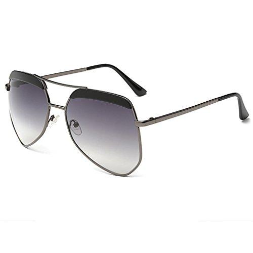 Frame Miroir Retro Hommes Gris Vintage Métal Unisexe Aviator Sunglasses Noir Objectif Lunettes Femmes QHGstore vxq8gFwUw
