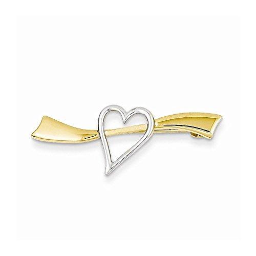 14k Yellow Gold & Rhodium Solid Satin Polished Heart Pin (White 14k Bracelet Gold Gram)