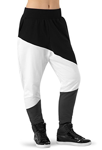 Balera Pants Girls Harem Pants for Dance Color Block Three Color Bottoms Black/White Adult Medium from Balera