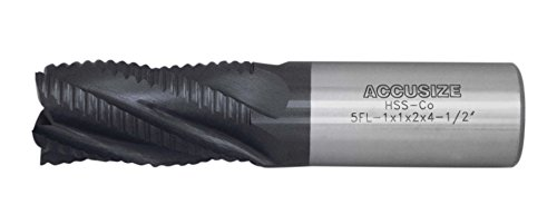 AccusizeTools - 1'' x 1'' x 2'' x 4-1/2'' Coarse Tooth M42 8% Cobalt TiALN Roughing End Mill, 5 Flute, Center Cutting, (Cobalt Center Cutting End Mill)