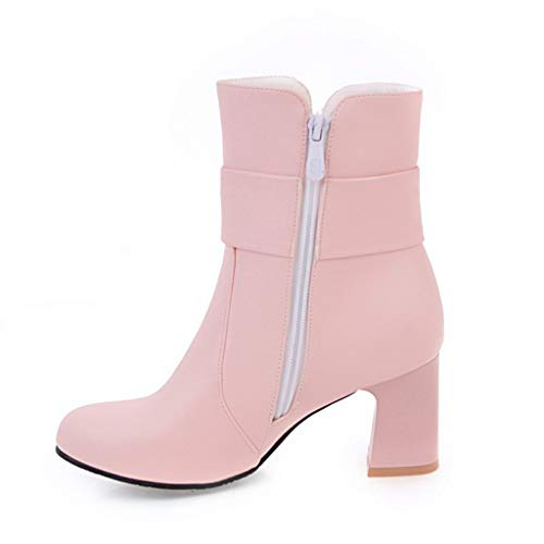 Waterproof Martin Boots,Londony Women Fashion Leather Ankle Bootie Casual Lace up Long/Short Combat Boots for Girls Pink