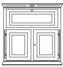 Gradel Isabella Sekretär mit 1 Klappe, 2 Türen und 1 Einlegeboden in Fichte massiv - natur gewachst
