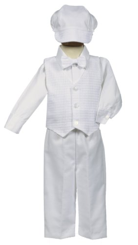 White Poly-Cotton Weaved Vest, Bow and Pant Set - Size L (12-18 Month)