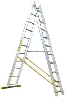 14 escalones 2 sección Combi all-in-One escalera extensible y escalera de doble cara: Amazon.es: Bricolaje y herramientas