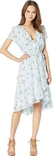 WAYF Women's Sutton Wrap Ruffle Mini Dress Sky Blue Floral/Foil Stripe - Foil Dress Mini
