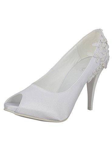 Schuhe Brautschleier Stickerei und zauberhafte satin-Shop Weiß