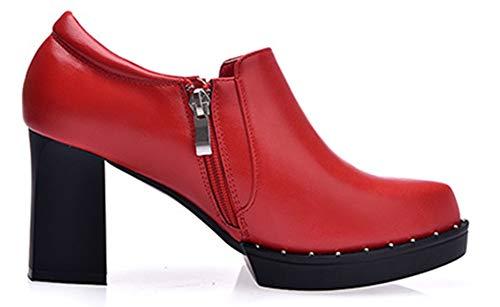 Bout Noir Richelieus Plateforme Rouge Mode Avec Aisun Zip Femme Basse Rond t0wEXq