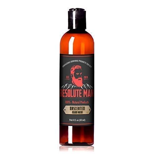 Resolute Man Unscented Beard Wash & Shampoo. Cleanse Your Beard, Mustache & Face. Soften, Condition, Increases Growth. Natural & Organic Oils Such as Argan, Jojoba & Vitamin E. Sulfate Free. 4 oz -