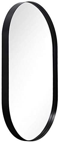 Bathroom Wall Mirror with Metal Frame Black, 24x36x1 Rounded Corner Rectangle Stainless Steel Frame Wall Mounted Mirror Hangs Horizontal or Vertical for Bathroom, Entry, Vanity, Room