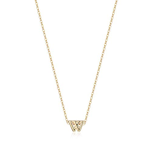 Petite Initial Necklace, 14K Gold Plated Dainty Letter W Necklace Delicate Mini Initial Personalized Choker Handmade Necklace for Girls Gifts Necklace Jewelry (W) (Initial For E Girls Necklace)