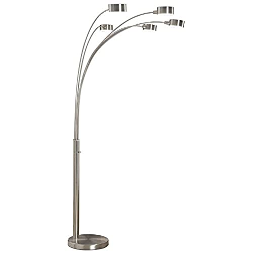 Arch floor lamps for living room amazon artiva usa micah 5 arc brushed steel floor lamp w dimmer switch 360 degree rotatable shades dim options bright attractive solid construction mozeypictures Images