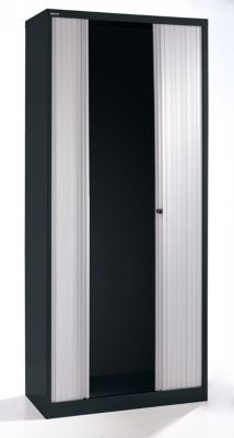 Bisley armario de cortinas – horizontal, altura 2229 mm negro profundo/gris claro –