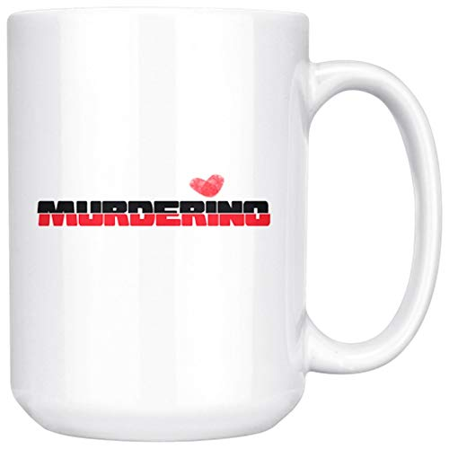 Funny Unique True Crime Gift Coffee Mug - Murderino with Thumbprint Heart