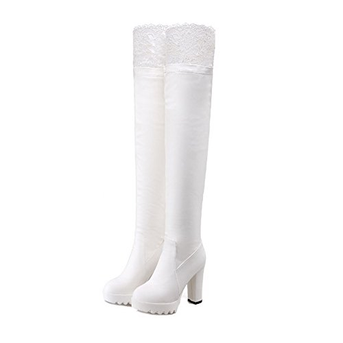 Toe Round The Boots Blend High Knee PU Closed Above Materials White AmoonyFashion Womens Heels agHIYq
