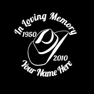 - in Loving Memory Vinyl Decal Stickers Cowboy Hat - Sticker Graphic - Auto, Wall, Laptop, Cell, Truck Sticker for Windows, Cars, Trucks