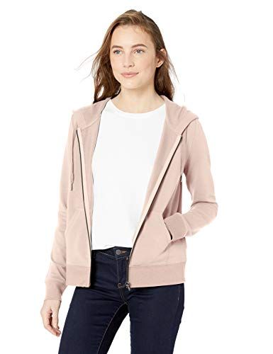 Cotton Terry Hoodie - Amazon Brand - Daily Ritual Women's Terry Cotton and Modal Full-Zip Hooded Sweatshirt, Rose, X-Large
