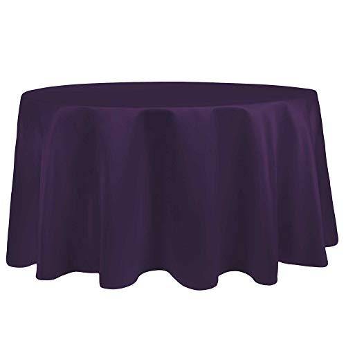 Ultimate Textile -10 Pack- Bridal Satin 60-Inch Round Tablecloth - Fits Tables Smaller Than 60-Inches in Diameter, Plum Purple (Shiny Plum)