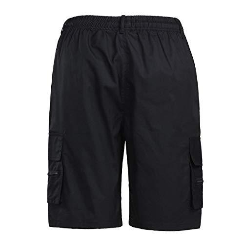 Taille S Cordon Élégant Court Bermudes Cargo 77 Chino De Hommes Élastique Normale Bolawoo Pantalon D'été Couleur Décontracté Schwarz Chic Coupe Unie Mode Shorts UwYxq1