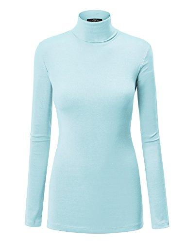 (WT950 Womens Long Sleeve Turtleneck Top Pullover Sweater M Aqua )