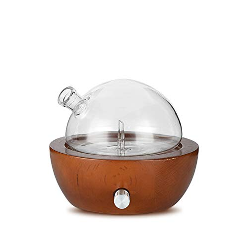 Waterless Essential Oil Aroma Diffuser, Natural Glass Oil Nebulizer for Home, Office, Spa Wood Base