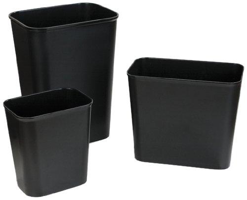 Carlisle 34291503 Fire-Resistant Deskside Wastebasket, 14 Quart, Black