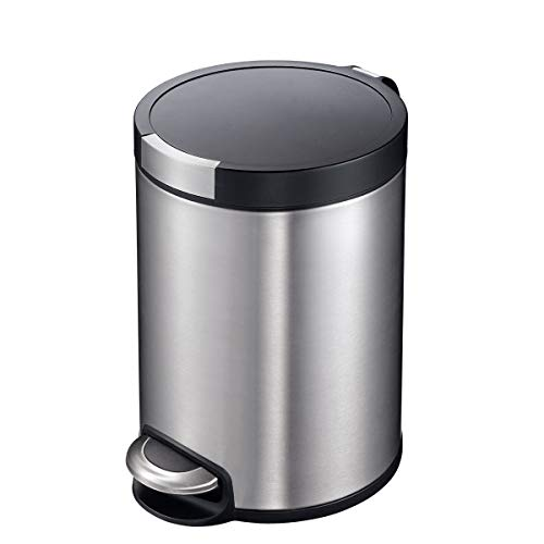 allon Artistic Bathroom Trash Can with Lid, Brushed Stainless Steel Finish ()