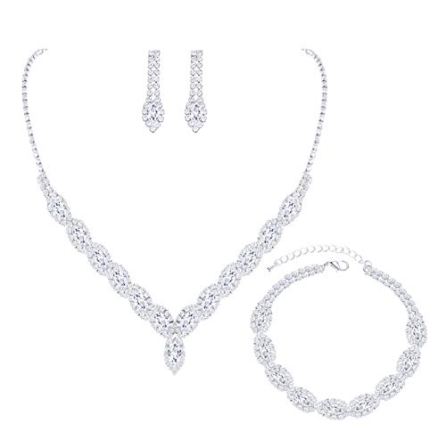 YSOUL Sparkling CZ Rhinestone Necklace Earrings Jewelry Set for Bridal Bridesmaid Wedding Evening Party Prom (3 Set-Silver)