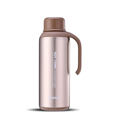 Beige Stainless Steel Coffee Carafe Pitcher Jug Drink Container Vacuumcup 1.6L