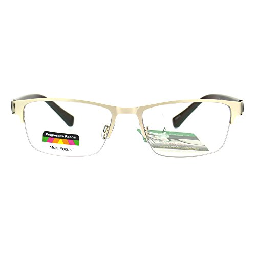 Mens Half Metal Rim Rectangular Multi 3 Power Focus Progressive Reading Glasses Gold +2.0