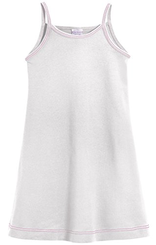 Girls Casual Dress Slip (City Threads Big Girls' Summer Dress Cami Camisole Spaghetti Strap Maxi Slip No Sleeve Dress For Sensitive Skin or SPD Sensory Friendly, White w/ Ligh Pink Stitch, 14)