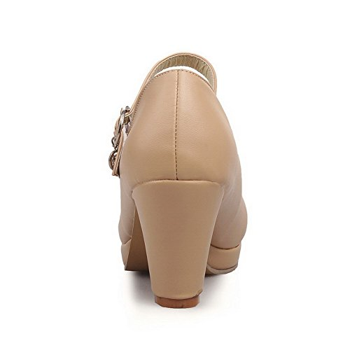 AllhqFashion Damen Weiches Material Rund Zehe Hoher Absatz Schnalle Pumps Schuhe Aprikosen Farbe