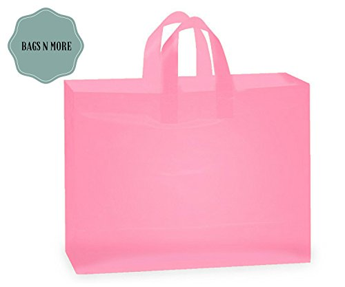 Plastic Merchandise Bags Large with Handle Pink Frost 16