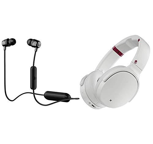 Skullcandy Venue Active Noise Canceling Wireless Bluetooth Headphone Bundle with Skullcandy Jib Bluetooth Wireless in Ear Earbuds - White/Crimson, Black