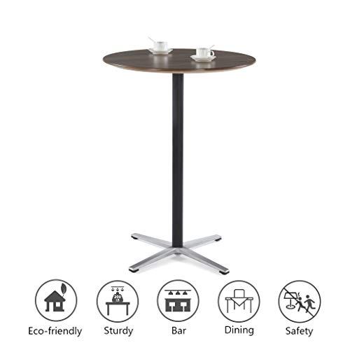 Furniture Black Pub Table - Sunon Round Bar Table 31.5-Inch Wood Pub Bistro Cocktail Table with Height Black Pedestal and Four Star Leg (Kass Walnut,43.3-Inch Height)