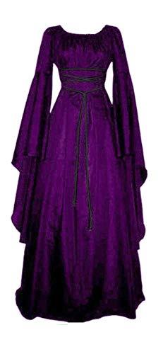 TOKYO-T Medieval Costume Women Purple/Black Irish Dress Victorian Retro Gown Cosplay (US8-10, Purple)