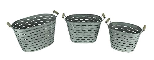(Rustic Metal Oval Olive Buckets with Wood Handles Set of)