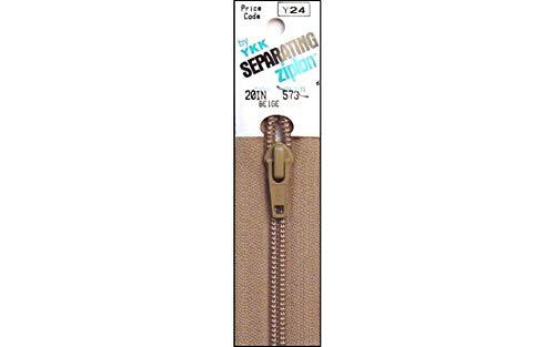 "YKK Ziplon Separating Zipper 20"" Beige"