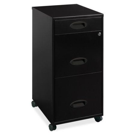 binet, Black Three Drawers Full High-Side Drawers Durable Steel Construction with a Baked Enamel Finish Lock Secures The Two Top Drawers (Full Suspension File 3 Drawer)