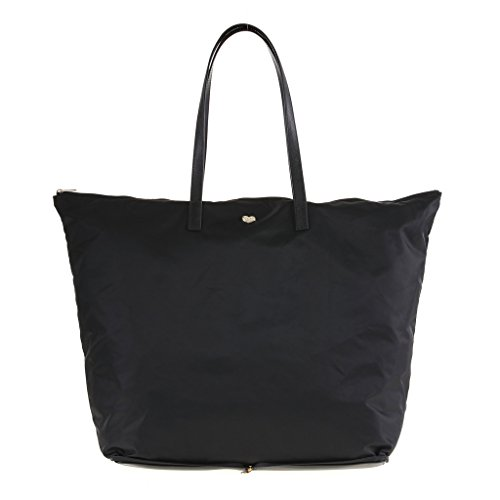 The Lovely Tote Co. Women's Portable Polyester Shopper with Zipper Closure Accessory, black, One size
