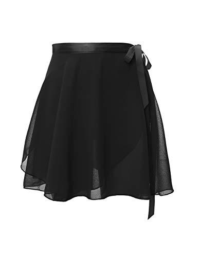Daydance Kids Sheer Ballet Skirt Wrap Chiffon Over Scarf for Dancing Black (Wrap Black Ballet)