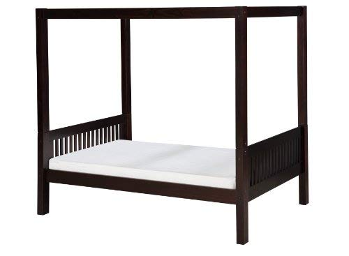 Solid Wood Canopy - Camaflexi Mission Style Solid Wood Canopy Bed, Twin, Cappuccino